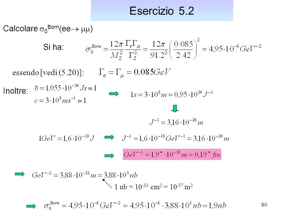 Esercizio 5.2 Calcolare s0Born(ee mm) Si ha: essendo [vedi (5.20)]: